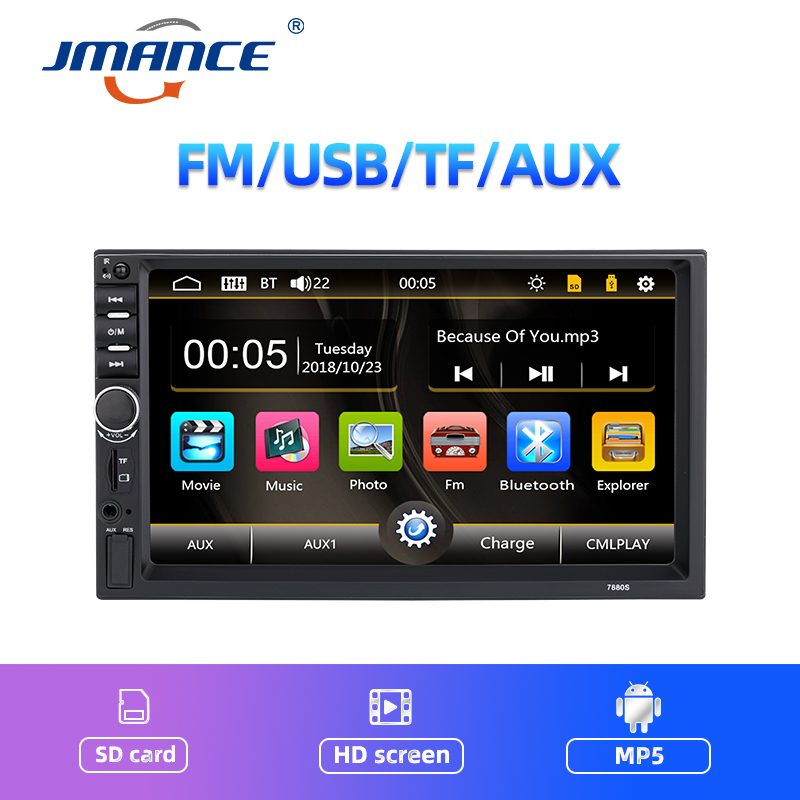 JMANCE Autoradio 2 Din Car Radio 7inch Touch Screen Dash MP5 Bluetooth USB Car Digital Multimedia Player Rear View Camera