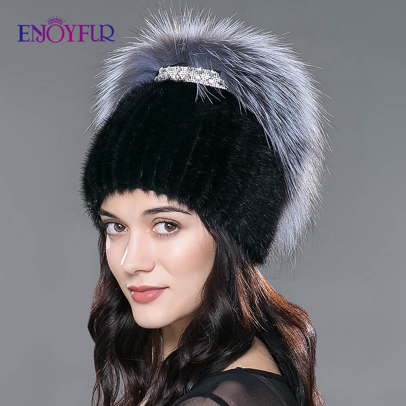 ENJOYFUR femmes hiver vison fourrure chapeaux tricoté réel vison argent renard fourrure casquettes femme russe chaud bonnets bon femmes fourrure chapeau