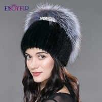 Gorros de piel de visón de invierno para mujeres ENJOYFUR sombreros de piel de visón de punto de visón real de piel de zorro de plata mujeres rusas cálidas buenas mujeres sombrero de piel