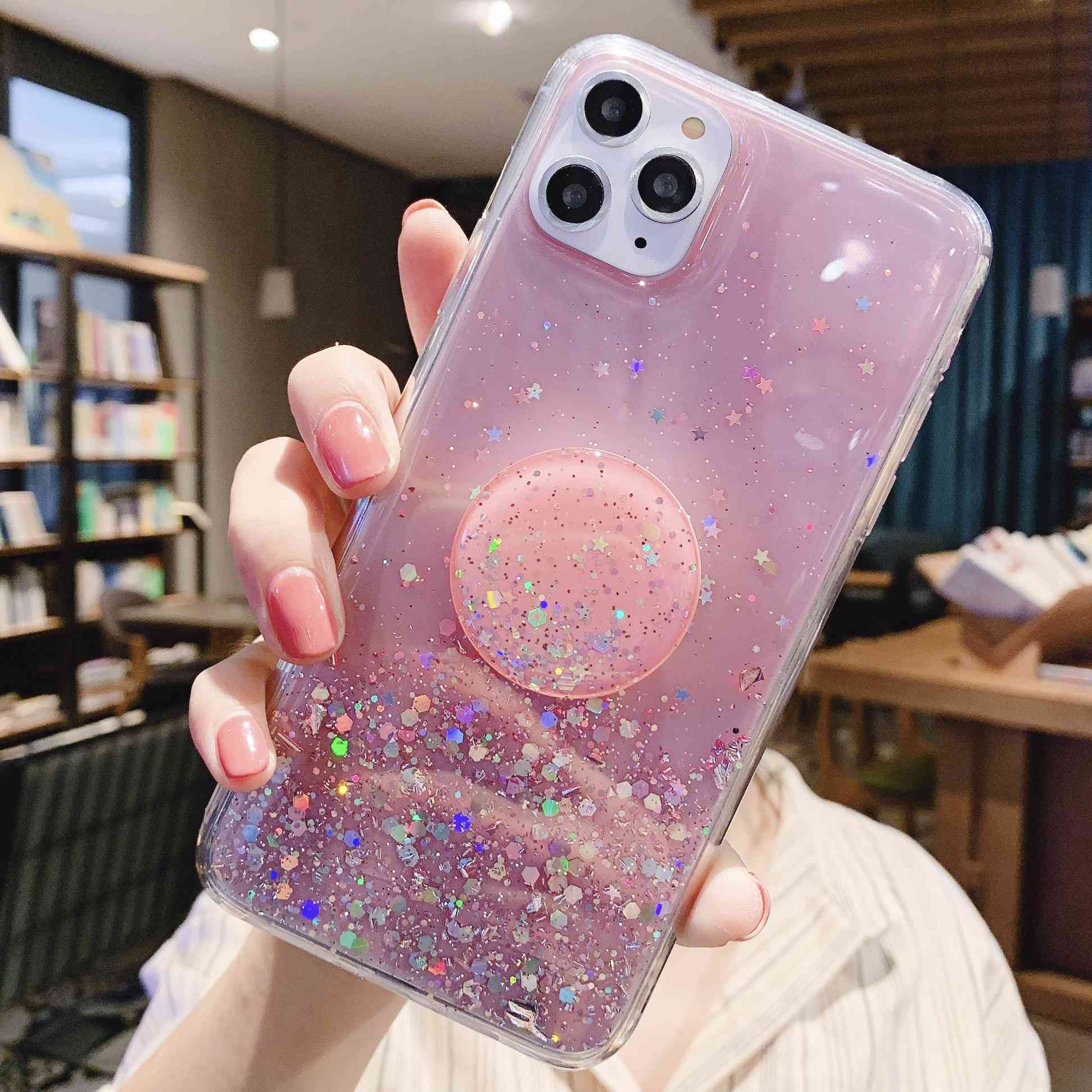 NEW Case For OPPO R15X RX17 Neo Ax7 Pro Reno Z A1 A3S Glitter Sequin Silver Foil With Holder Clear Soft Cover Star Sparkle Coque image
