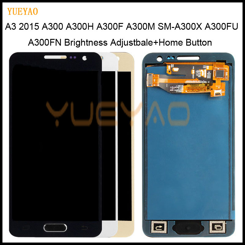 adjust brightness <font><b>LCD</b></font> For <font><b>Samsung</b></font> Galaxy A3 2015 <font><b>A300</b></font> A3000 A300F A300M <font><b>LCD</b></font> Display+Touch Screen Digitizer Assembly+Home Button image