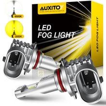 Auxito 2x 2000lm h8 h11 h16jp h10 lâmpada led luzes de nevoeiro canbus nenhum erro 6500k branco 3000k ouro drl diurna carro lâmpada 12v
