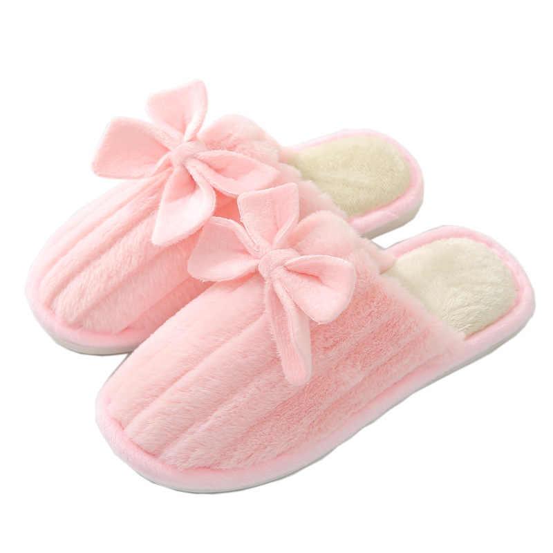 Indoor Sandal Hangat Musim Dingin Sepatu Wanita Katun Flanel Rumah Sandal Wanita Lantai Sandal Jepit Anti-Slip Bulu SLIDE Sandal Dan femme