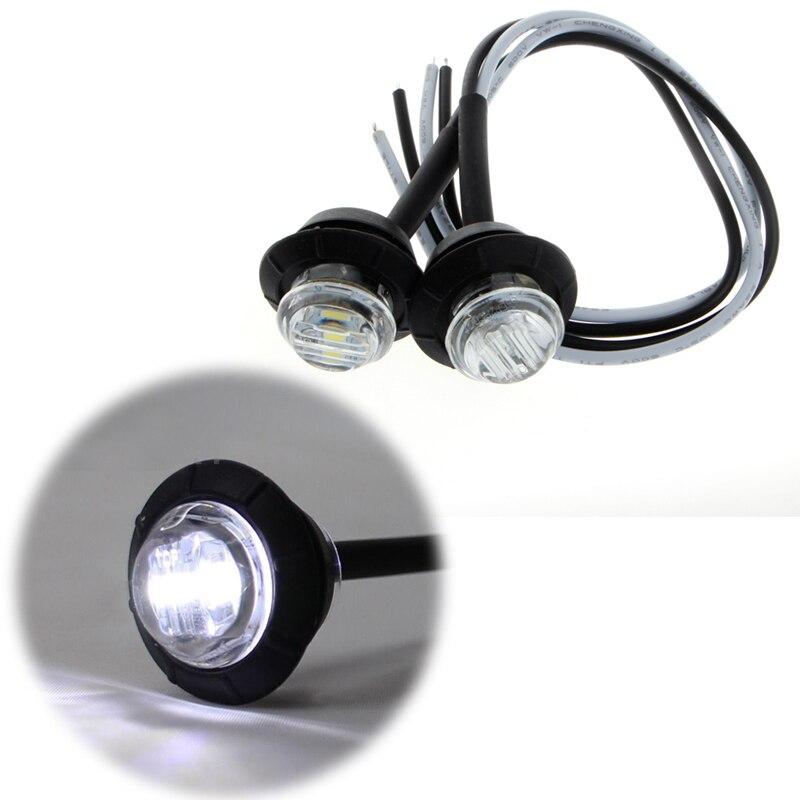 1 par nova lâmpada de sinal mini dc 12 v branco 3 led marcador reboque caminhão lado bala luz do carro à prova dwaterproof água fonte de luz