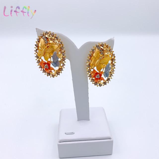 Brincos de jóias de ouro de dubai conjuntos de jóias para o casamento feminino anel de pulseira de noiva pingente de jóias conjunto 5