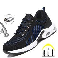 2020 moda ochronne buty robocze mężczyźni stalowa nasadka na palec niezniszczalne buty Anti-Smashing budowlane buty ochronne praca trampki męskie