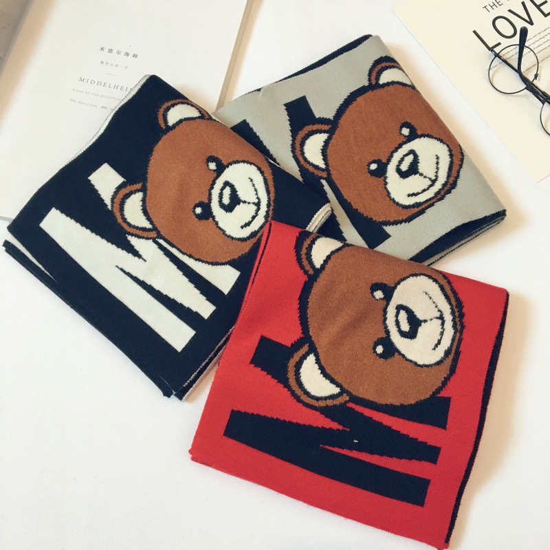 Korean Plaid Wool Cartoon Bear Letter Tassel Warm Fall Winter Thick Kids Children Boys Girls Shawls   Wrap     Scarves   Accessories-LHC