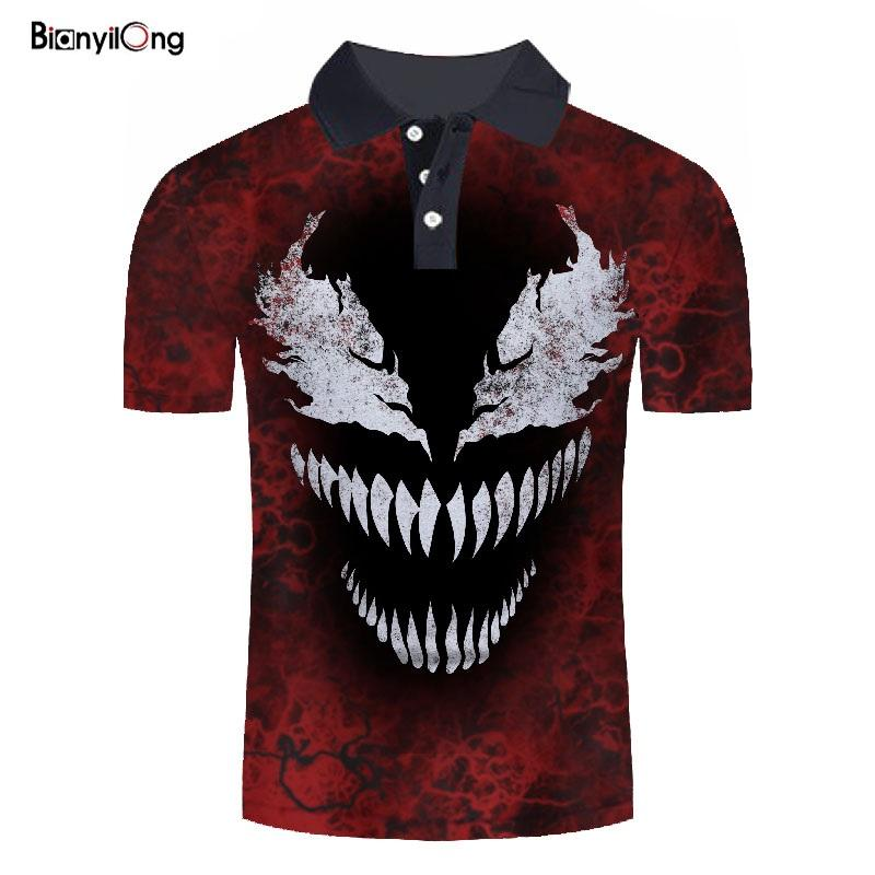 2019 New   polo   shirt men Brand   Polos   3d print Black red venom Mens Shirts Short Sleeve   Polo   Casual   polo   homme Stand Collar   polo