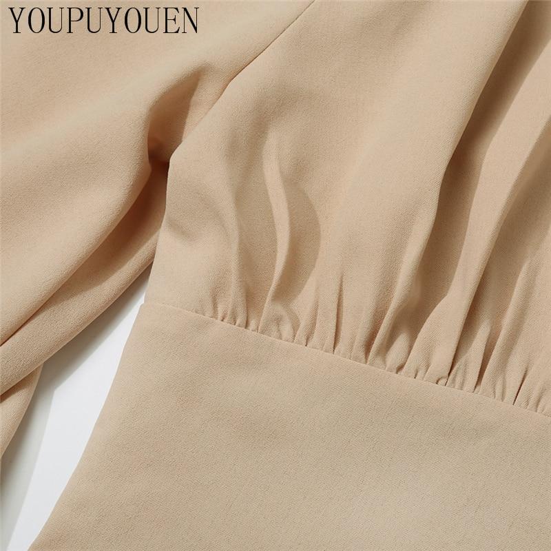 Ladies Elegant Blouse Lantern Long Sleeve Tops 2020 Autumn V Neck Crop Top Fashion Shirts Women Button Up Shirt Vintage Clothing Women Women's Blouses Women's Clothings cb5feb1b7314637725a2e7: Khaki