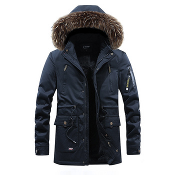 New Thickened Frock Cotton-padded Jacket Long Plus Velvet Men Cotton Coat Removable Hooded Cotton Coat Washed Cotton Coat