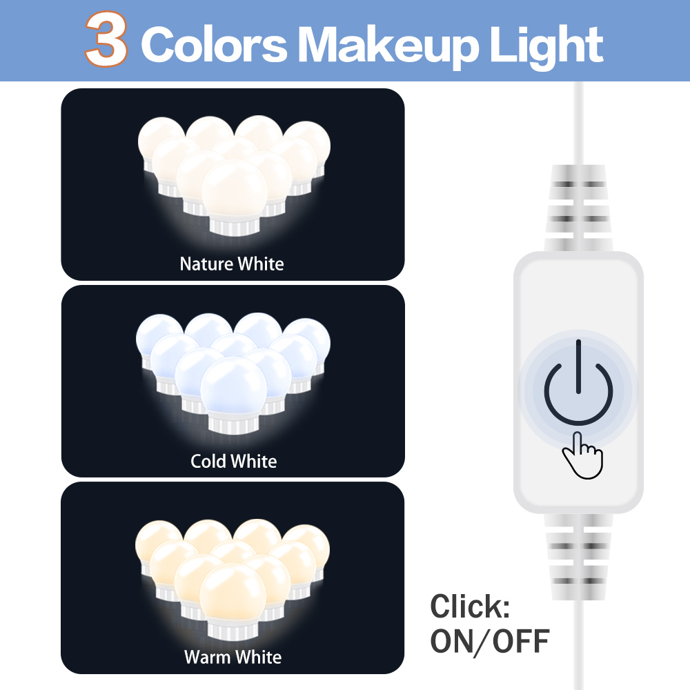 USB 12V Maquiagem Profissional Completa Makeup Light Led Bulb Vanity Mirror Lamp 3-Color Dimmable Dressing Table Cosmetic Light
