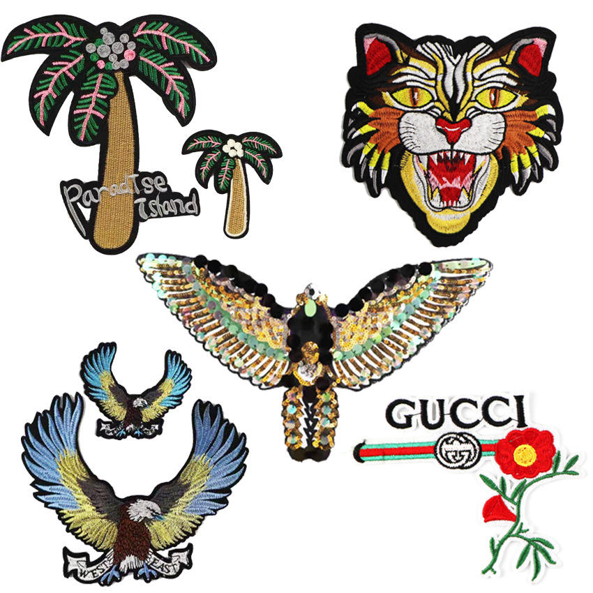 Popular Cloth Paste Eagle Leopard Animal Lace Sequins Hand-made High-density G Family Delicate Embroidery Paste