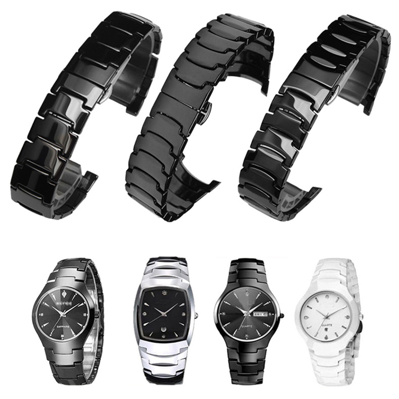 Ceramic Watch Bracelet Butterfly Buckle Strap For Rado Old 6020 6027 6037 Man Woman Watch Band 23*16mm 15*9mm Tools