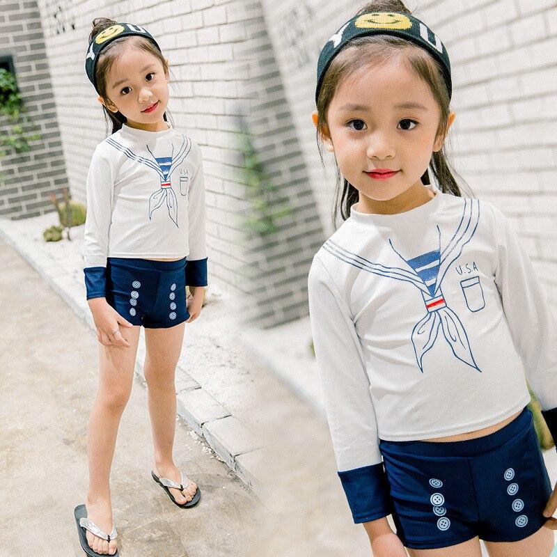 Si Man Qi KID'S Swimwear Women's Princess Split Type Hot Springs Big Virgin Girls Long Sleeve Boxer Korean-style Tour Bathing Su