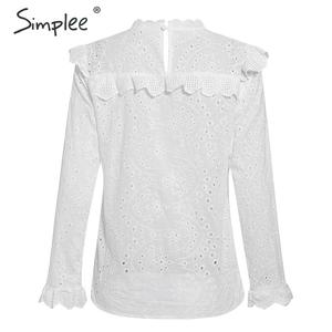 Image 5 - Simplee Women sweet hollow out ruffled shirts See through long sleeve Pleated blouse ladies spring cute white tops blusas 2020