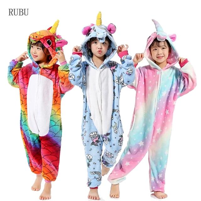Girls Boys Winter Kigurumi Pajamas Unicorn Cartoon Anime Animal Onesies Kids Sleepwear Flannel Warm Jumpsuit Children Pajamas 1
