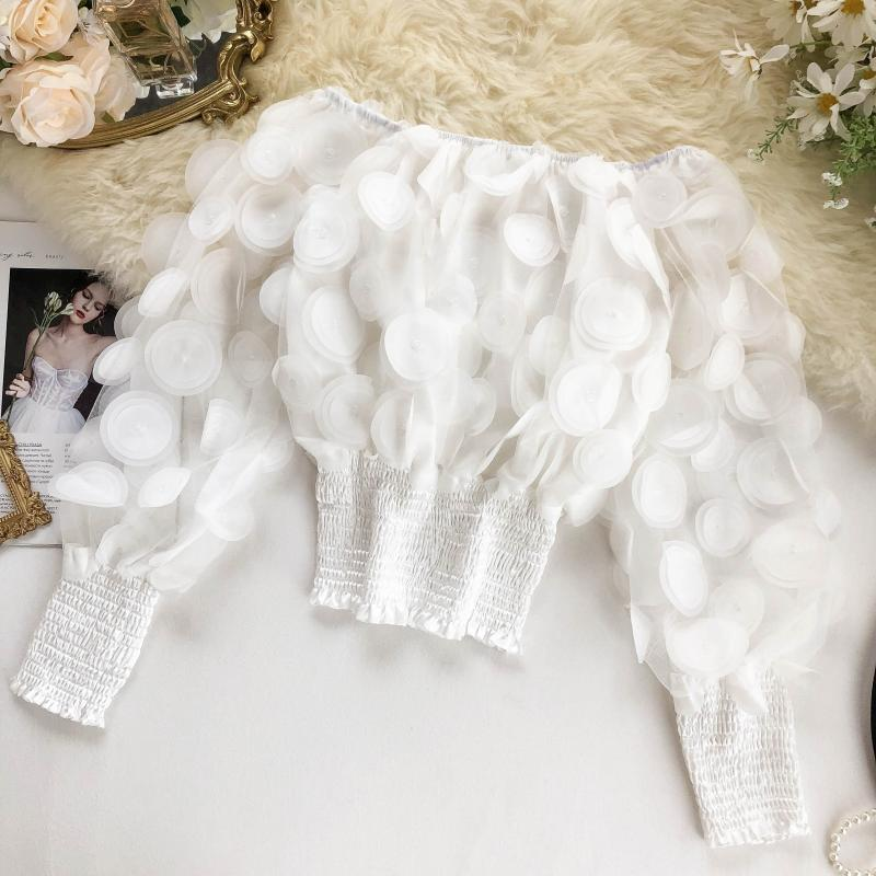 Ha9082b93dea647e291be10c2f344b55eF - Sexy Off Shoulder womens tops and blouses Mesh Sheer Puff Sleeve Tops Summer 3D Flower Vintage White Women Shirt Blouse