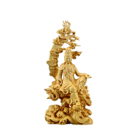 Gifts Carving Sculpture Kwan yin Office Figure Ornament Home Decor Desk Guanyin Boxwood Chinese Craft Buddha Statue