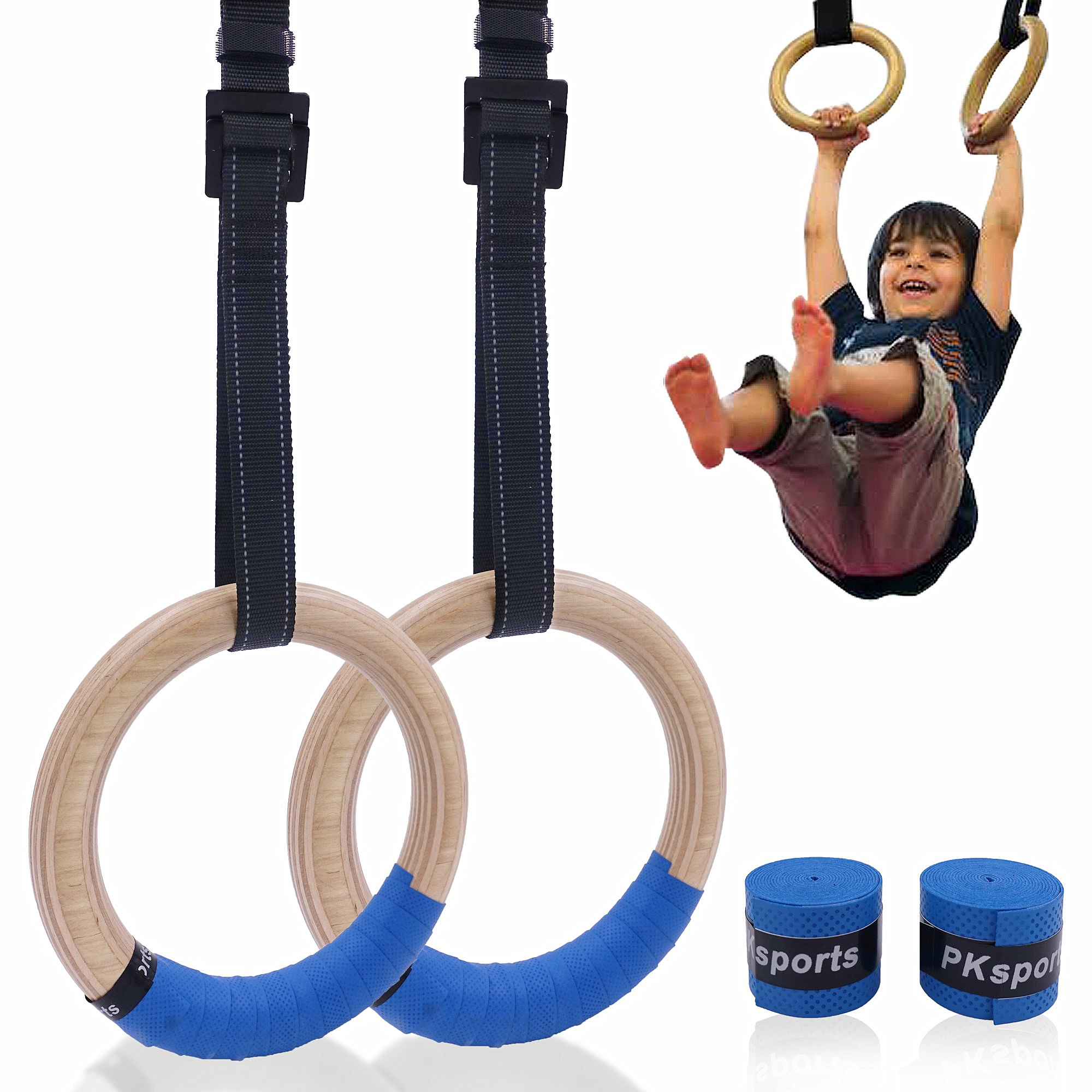 Wooden Gymnastic Rings For Kids 25mm Gym Ring With Adjustable Straps Buckles Indoor Fitness Crossfit Home Playground Gym Pull-up