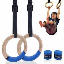 Anneaux de gymnastique en bois pour enfants, 25mm, anneau de gymnastique avec sangles réglables, boucles, Fitness d'intérieur, Crossfit, terrain de jeu à domicile, traction