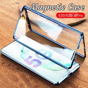 Image 1 - Funda magnética de Metal para Samsung Galaxy S20 Ultra Plus, protector de vidrio de doble cara, 360