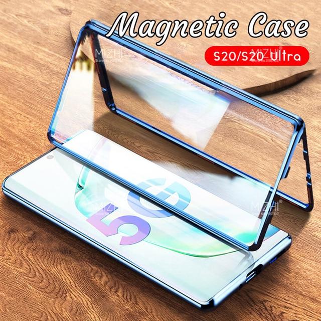 Funda magnética de Metal para Samsung Galaxy S20 Ultra Plus, protector de vidrio de doble cara, 360