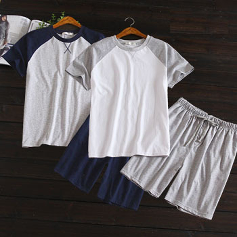 Summer Thin Style 100% Cotton Men Short-Sleeved Shorts Homewear Suit Korean Color Matching Pajamas Suit Casual Home Clothing