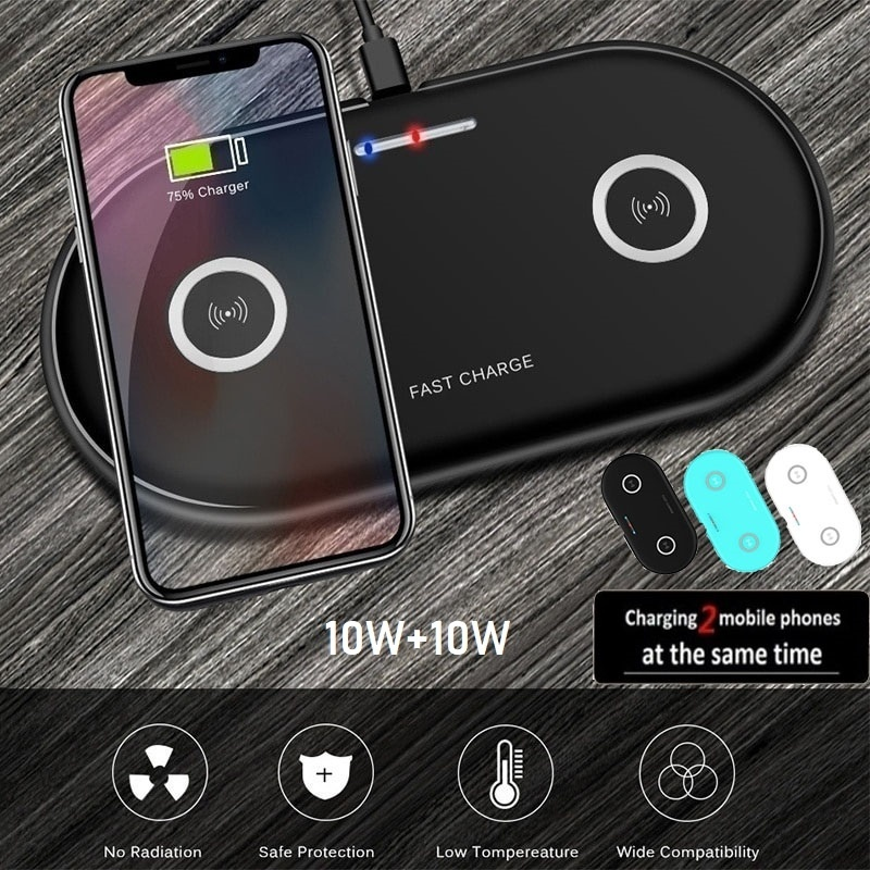 20W 2in1 Qi Wireless Charger For Iphone 11 XS MAX X 8 Dual 10W Fast Charging Pad For Samsung S10 S9 S8 Huawei P30 Pro Mate 30 20