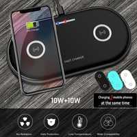 20W 2in1 Qi cargador inalámbrico para iphone 11 XS MAX X 8 Dual 10W rápido almohadilla de carga para Samsung S10 S9 S8 Huawei P30 Pro Mate 30 20