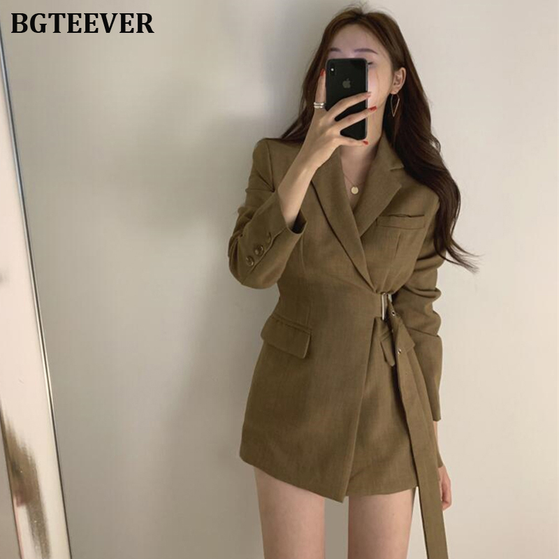 Stylish Sashes Slim Waist Women Blazer Jackets Vintage Female Suit Coat Office Ladies Feminino Blazers Outerwear 2019