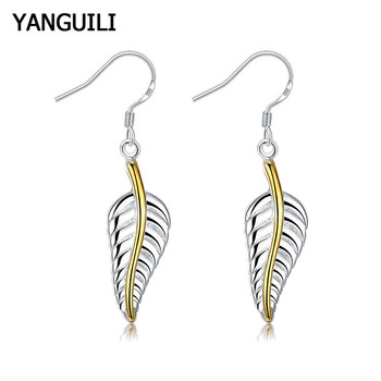 High Quality Silver 925 Earrings Fashion Jewelry Gold Color Feather Drop Female Lovers Gifts
