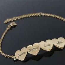 FYW Famliy ювелирные изделия для детей с именами сердца, браслет для мамы, персонализированный подарок для мамы, папы, детский браслет с именами