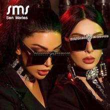 Lunettes de soleil Vintage carrées pour femmes, verres solaires de luxe en diamant, strass, monture en métal, nuances de miroir, UV400 Gafas, 2020