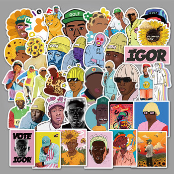 50Pcs Tyler The Creator Flower Boy IGOR Band Music Cover Hip Hop Rapper Stickers Skateboard Laptop Luggage Waterproof Decals tyler the creator tyler the creator igor