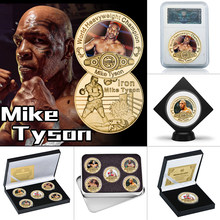 Boxing Man Gold Plated Commemorative Coin Set with Coin Holder World Heavyweight Champion Souvenir Coin Sports Gift for Him