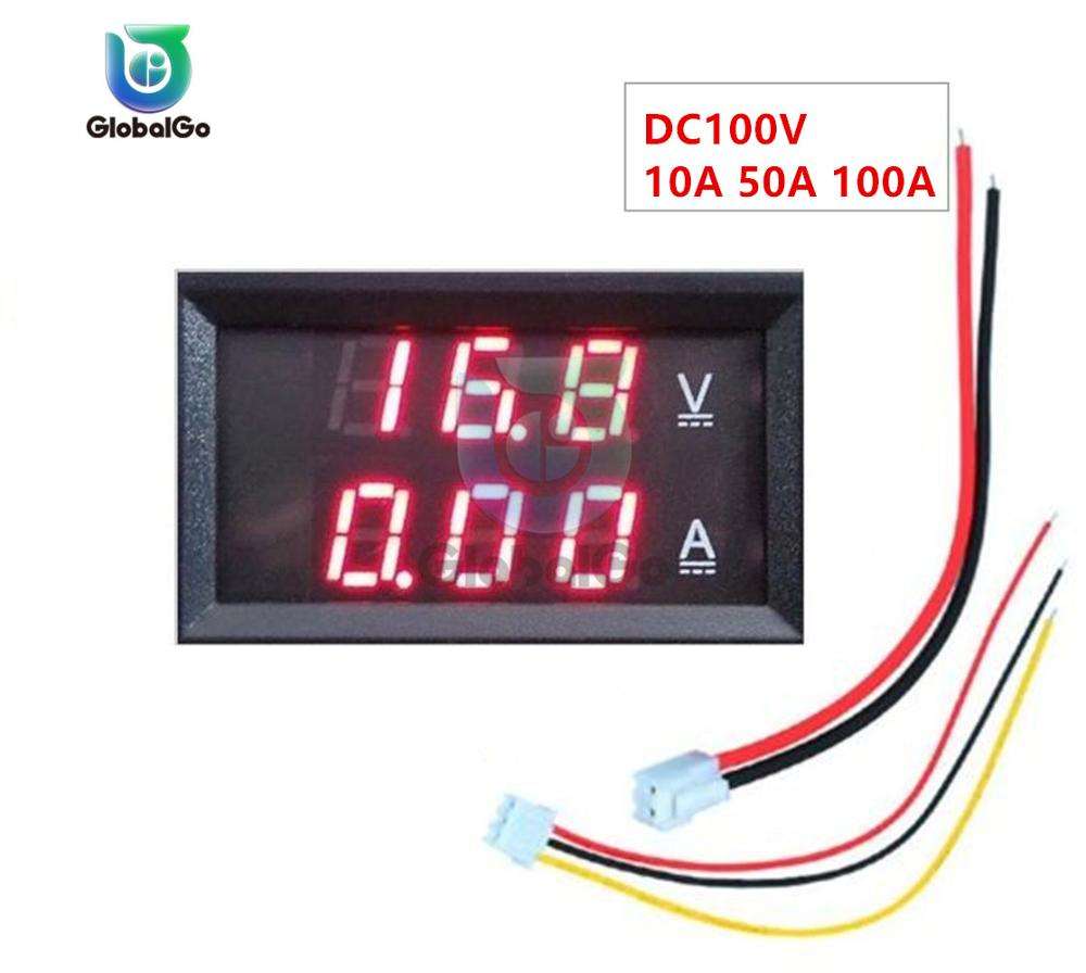 DC100V 10A 50A 100A LED Digital Voltmeter Ammeter Smart Voltage Meter Car Motorcycle Volt Tester Detector Monitor Red Red