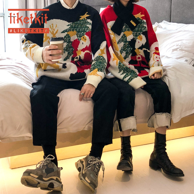 Liketkit Christmas Couple Sweaters Winter 2019 Mens Santa Funny Knitted Sweater Thicken Warm Pullover New Year Sweaters For Gift