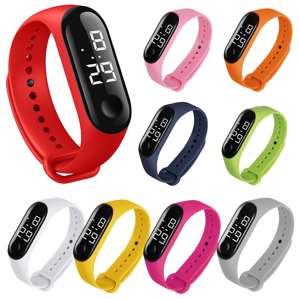 M3 Children Solid Color Adjustable Strap LED Digital Electronic Wrist Watch