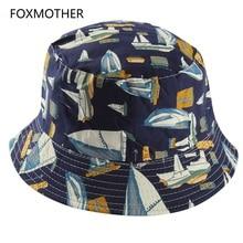FOXMOTHER Новая мода темно-синий белый парусник Рыбацкая Кепка Реверсивные ведро шляпы женские мужские