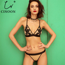 CINOON Sexy Lace Bralette 3/4 Cup Bra Sets Underwear For Women Wire Free Thin Lingerie Set Breathable Comfortable intimates