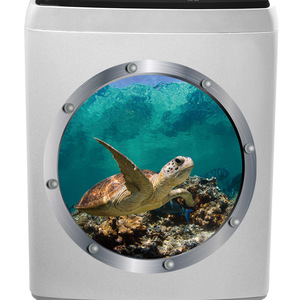 Sea Turtle 3D Wall Stickers Decals Decor Ocean World Wall Art Floor Sticker Wallpaper for Washer Bedroom Room House Decoration