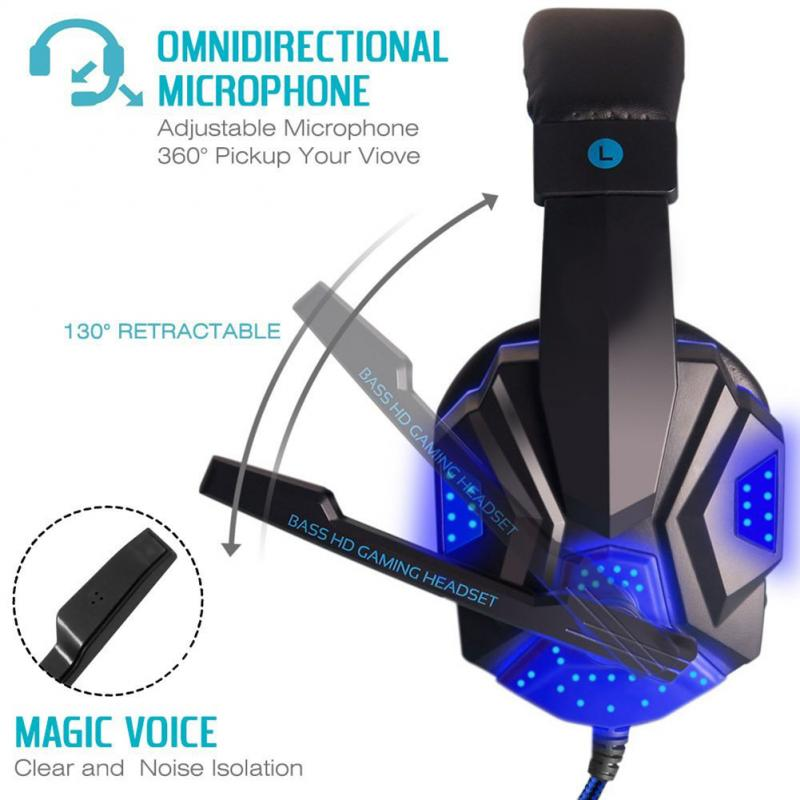 Gaming Headset with Mic and LED Light for Laptop Computer 3.5mm Wired Noise Isolation Volume Control Stereo Gaming Headphone