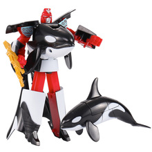Transformation Sea Life Robot Toys Killer Whale Dolphin Great White Shark Deformation Plastic Boys Action Figure Children