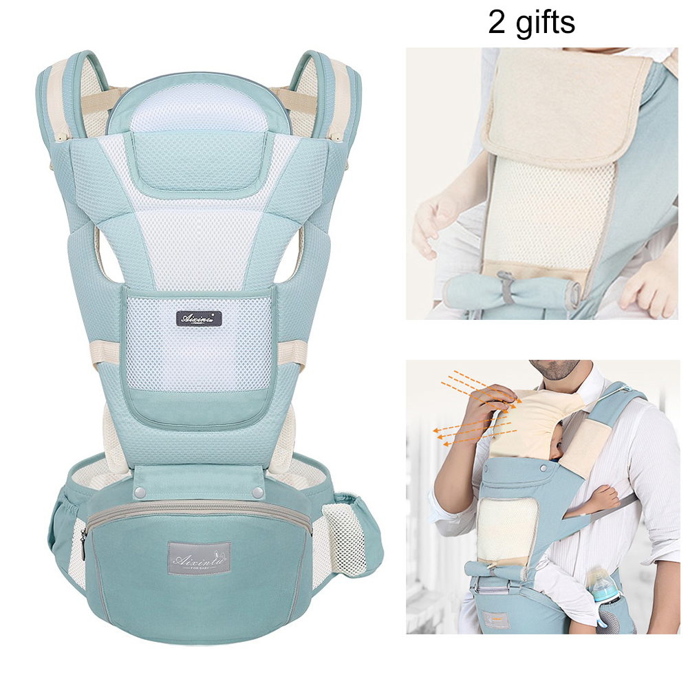 Infant Breathable Baby Carrier Infant Baby Waist Carrier Front Facing Ergonomic Kangaroo Sling For Baby Travel 0-36M With Bibs