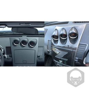 Image 4 - For Nissan 350Z Z33 2003 2009 Central tilt meter Frame Carbon Sticker Radio Air Console Panel Cover Modified Decor Accessories