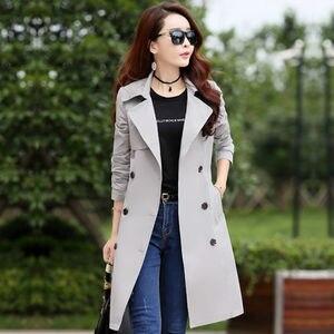 Image 2 - Primavera trench coat para a a primavera para mulher streetwear de volta gola dupla breastecasaco feminino plus tamanho 3xl xxxl sobretudo feminino