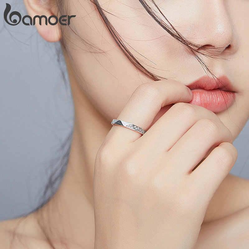 Bamoer In Argento Sterling 925 Geometrica Minimalista Anelli di Barretta per Le Donne di Stile Coreano Gioielleria Raffinata Accessori Anello SCR654