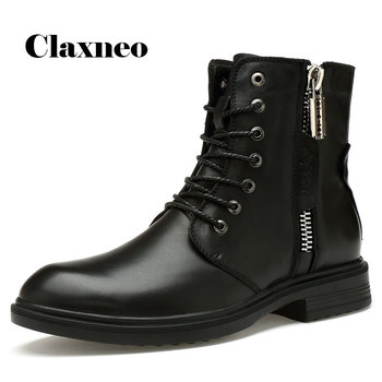 CLAXNEO Man Boots High Top Genuine Leather Zipper Boot Male Winter Shoes Plush Wool Fur Warm clax Men's Snow Shoe Big Size clax mens high boots genuine leather autumn casual motorcycle boots male shoe winter boot fur warm snow shoes