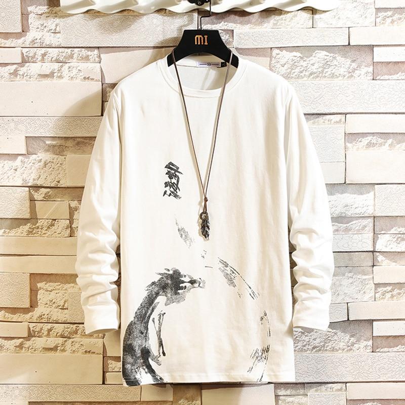 De algodón de los hombres, camiseta de moda de manga completa hombre primavera Camisetas Hombre Camisetas Oversized Casual T camisa para hombre Xxxtentacion