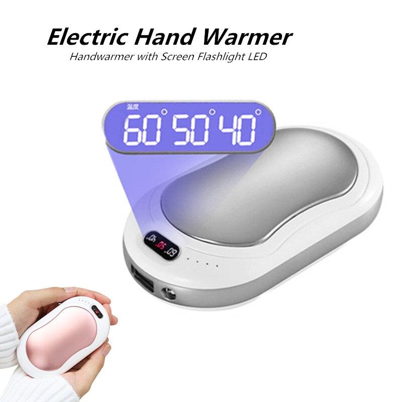 LED Elektrische Hand Wärmer Tasche Mini Rechargable USB Handwärmer mit Bildschirm Taschenlampe Anzeige Wiederverwendbaren Handliche Heizung für Hände